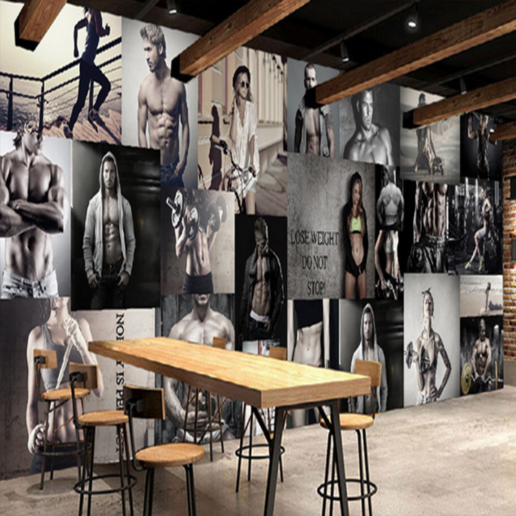 Gym Only Wallpaper High-definition Healthy Beauty Handsome Boy Photo Wall Mural Boxing Gyms Gym Wallpaper