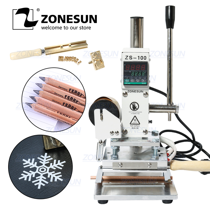 ZONESUN ZS-100B Dual Use Manual PVC Card Leather Pencil Paper Hot Foil Stamping Bronzing Embossing Machine Heat Press Machine