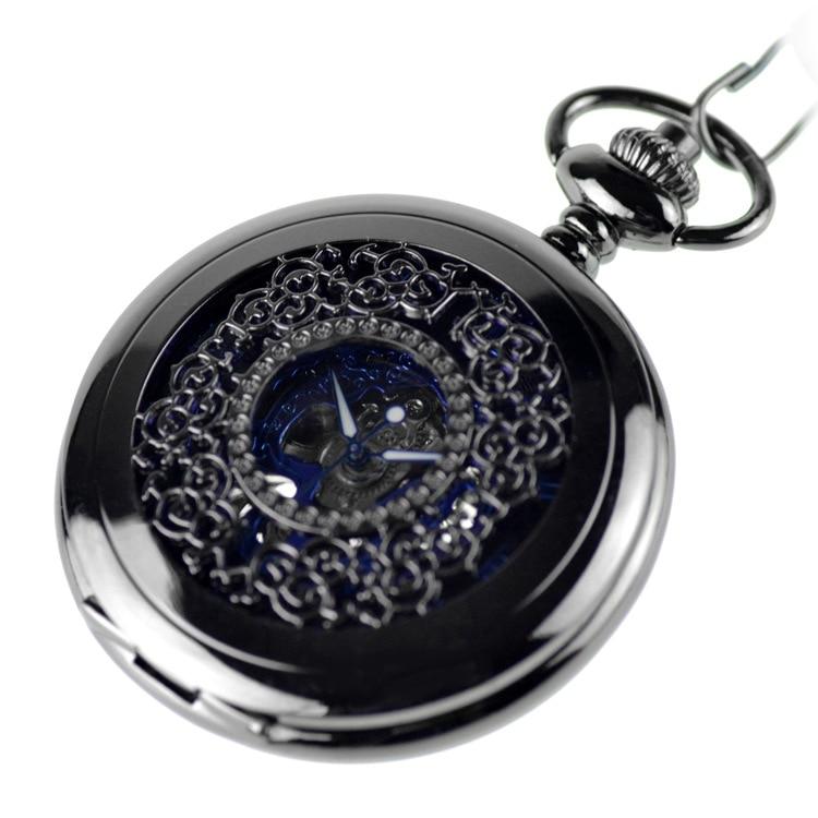 Blue Color Steampunk Skeleton Mechanical Pocket Watch Necklace Pocket Chain Male Clock Antique Classic