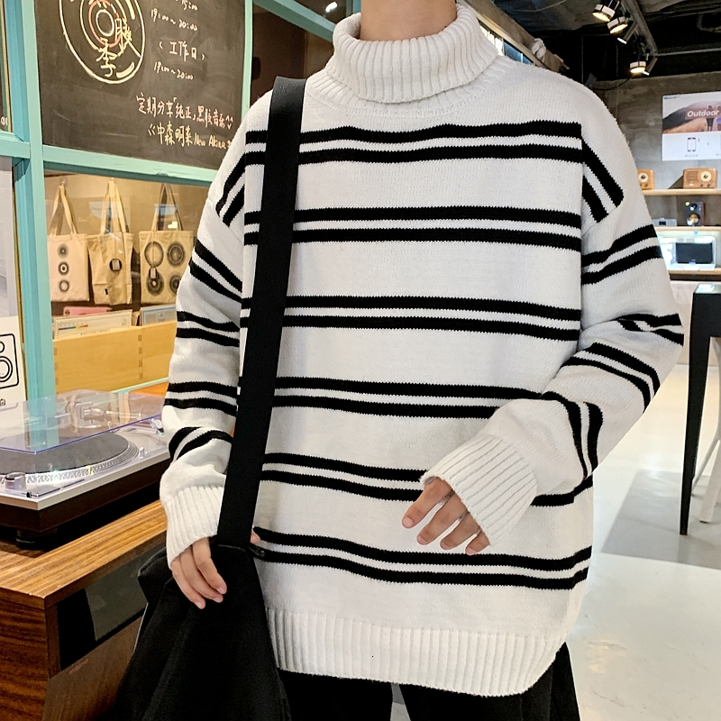 UUYUK Men Autumn Turtleneck Long Sleeve Striped Sweater
