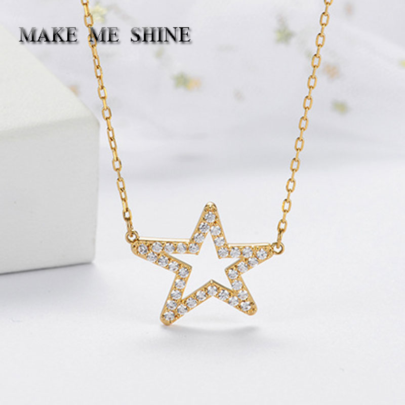 New SWA Shining Women Elegant Star Necklace Five-pointed Star Clavicle Chain Female Pendant Cute Girls Gift