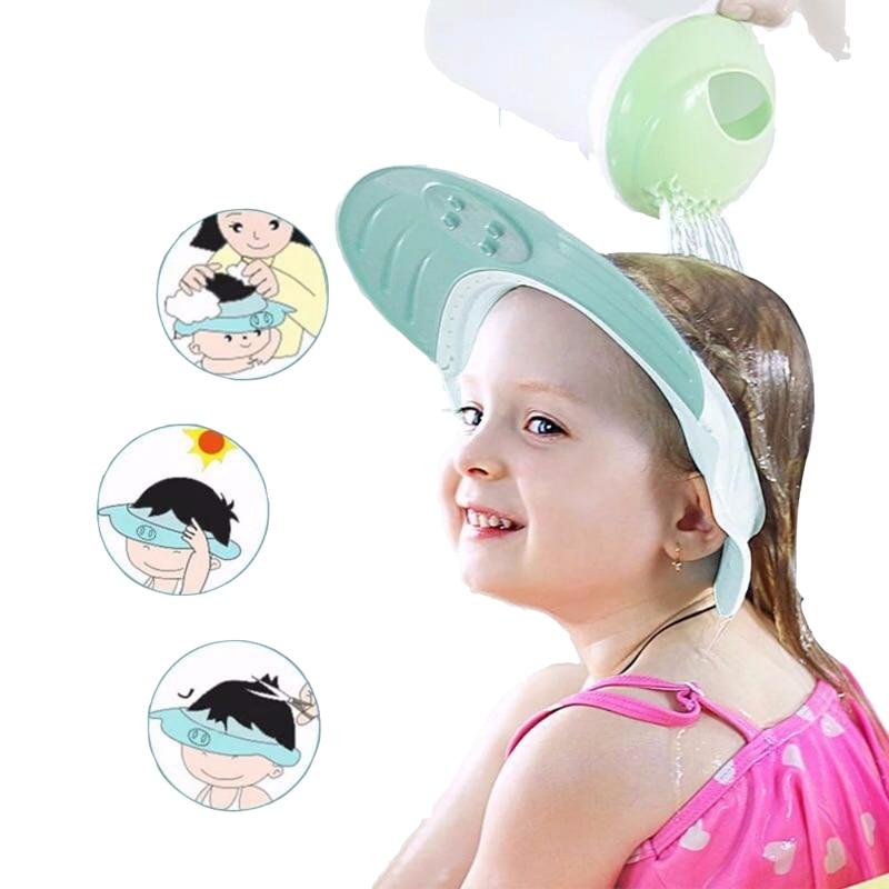 Детская кепка с шампунем, регулируемая, с мультяшным рисунком, для мытья, для купания, для защиты волос, водонепроницаемая, для малышей, для