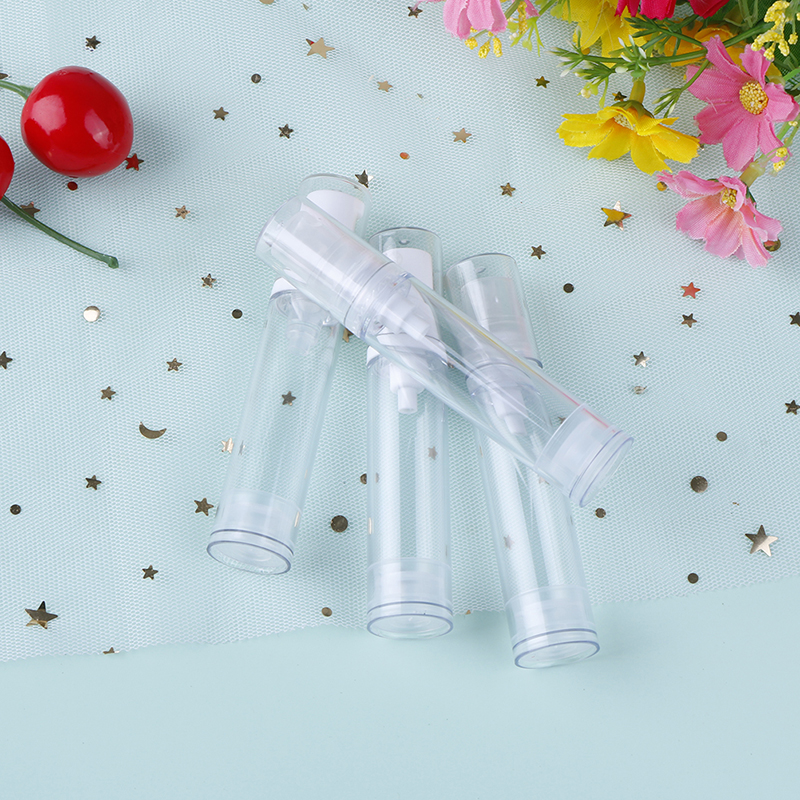 2pcs 5/10/15ml Clear Empty Airless Vacuum Pump Bottle Refillable Plastic Lotion Travel