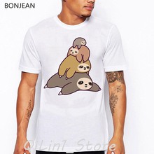 sloth family print t-shirt men funny vogue t shirts camisetas hombre harajuku shirt tumblr clothes summer tops tee homme