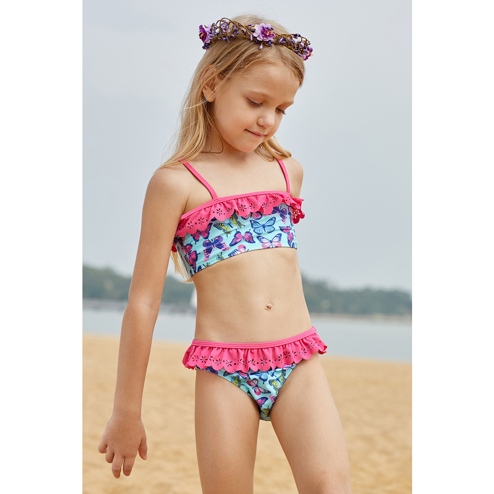 Children Two-piece Swimsuits Girls Butterfly Printed Wrinkle Tour Bathing Suit Big Boy GIRL'S Europe And America Set Tz410063