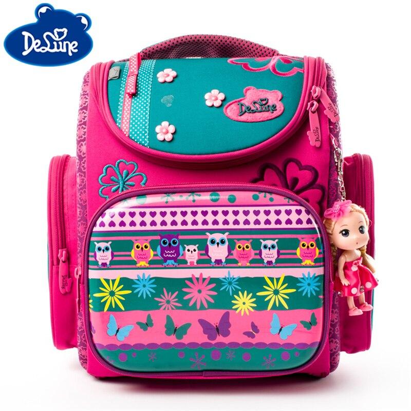 Delune Cartoon School Bags Backpack for Girls Boys Bookbag Flower Pattern Children Orthopedic