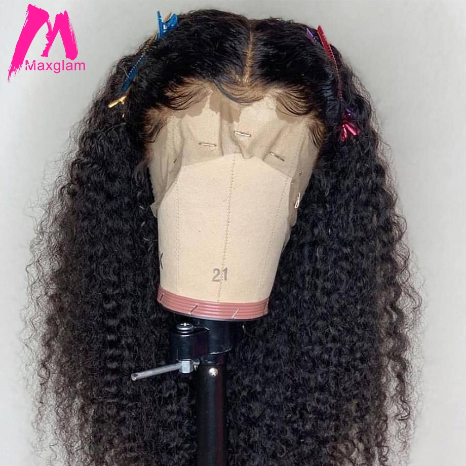 Kinky curly human hair wig Brazilian Lace Front Human Hair Wigs Natural Remy Hair For Black Women PrePlucked with Baby Hair 13x4-in Human Hair Lace Wigs from Hair Extensions & Wigs