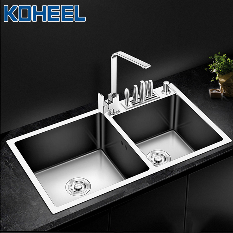 KOHEEL Kitchen Sink Handmade Brushed Stainless Steel Kitchen Sinks Double Bowl Above Counter Or Undermount Wastafel FKS02-1