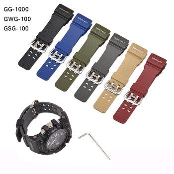 Correa de goma para reloj Casio G Shock GG-1000, Correa deportiva de GWG-100 para GSG-100, accesorios para reloj