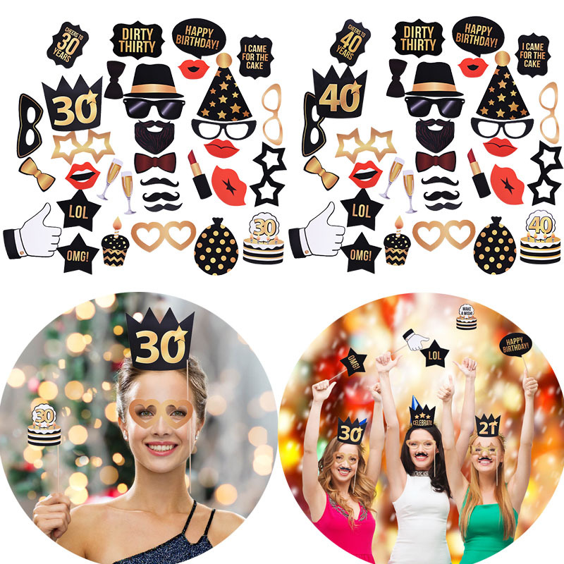 18/21/30/40/50 Years Old Party Photo Props Funny Mask Caps For Adult Happy Birthday Party Photo Booth Props Accessories
