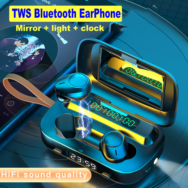 TWS Wireless 5.0 auricolare Bluetooth cuffie LED Touch Control auricolari 9D Stereo Bass Airbuds cuffie auricolari inalambricos