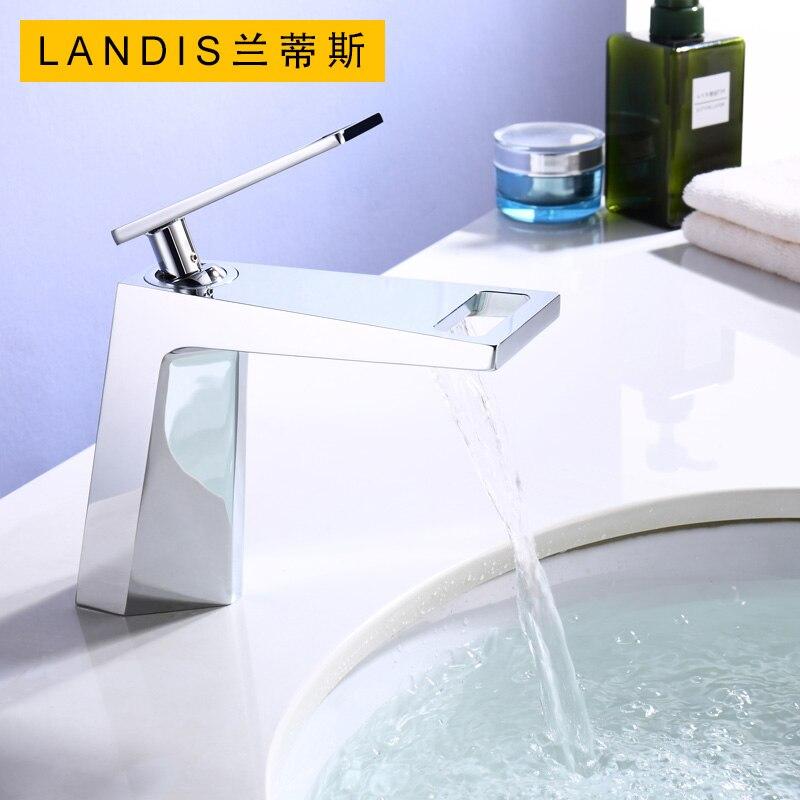 Quyanre noir Chrome salle de bain bassin robinet mitigeur mitigeur robinet évier cascade bassin évier mélangeur eau chaude froide grue