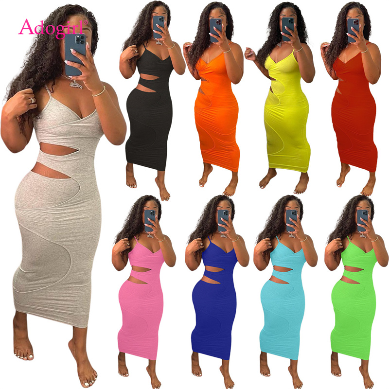 Adogirl Fashion Sexy Cut Out Split Layer Spaghetti Straps Bandage Dress Women Deep V Neck Sleeveless Summer Vestidos Drop Ship
