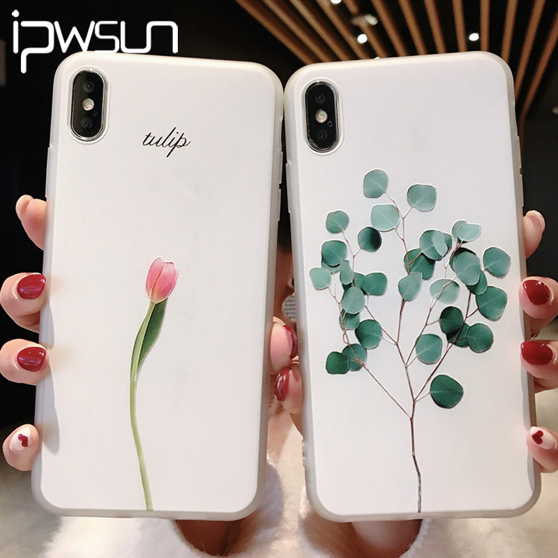 iPWSOO Green Leaves <font><b>Case</b></font> For <font><b>iPhone</b></font> 11 Pro XR XS Max <font><b>X</b></font> <font><b>3D</b></font> Relief Flower Phone Cover For <font><b>iPhone</b></font> 6 6s 7 8 Plus Soft <font><b>Silicone</b></font> <font><b>Cases</b></font> image