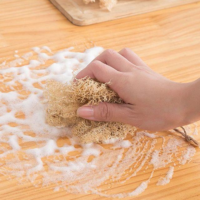 5Pcs/Set Natural Loofah Sponge Kitchen Cleaning Brush Dish Scrubber Irregular Superfine Fiber Washing Tools for Cup Pot Pan Bowl 5