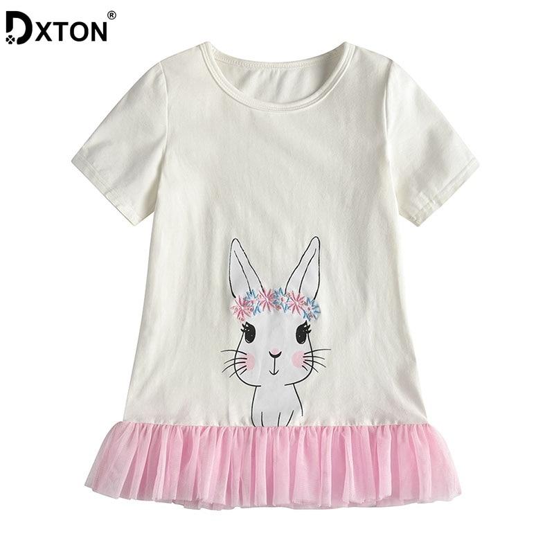 DXTON Summer Girls T-shirts Short Sleeve Kids Tops Rabbit T-shirts Baby Girls Patchwork Children Tees Cotton T-shirts For Girls