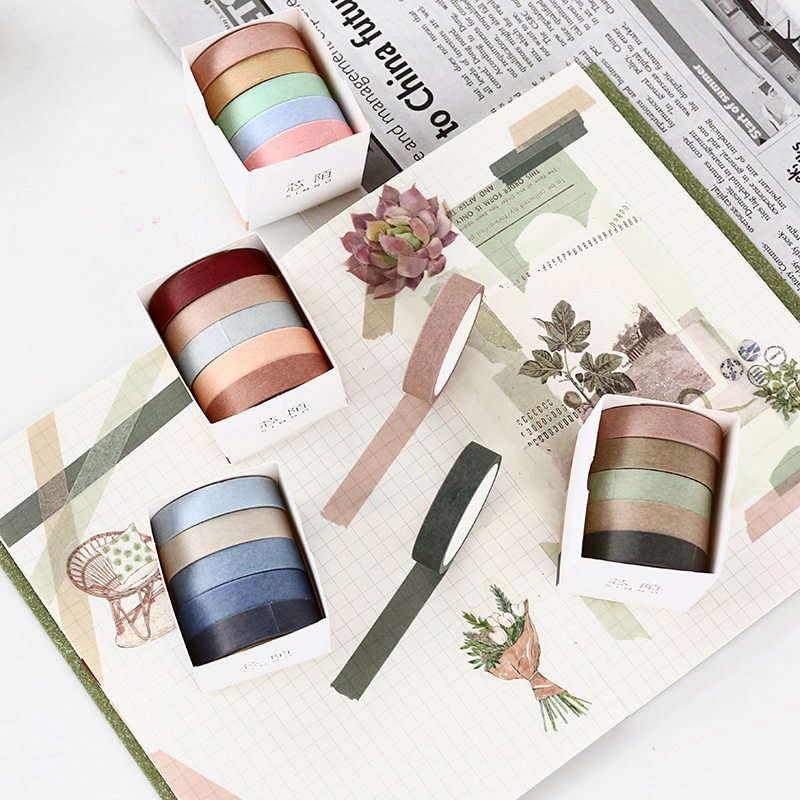 5pcs/pack Kawaii Japanese Paper Solid Color Washi Tapes 10mmx5m Decorative Scrapbooking Office Stationery Adhesive Masking Tape
