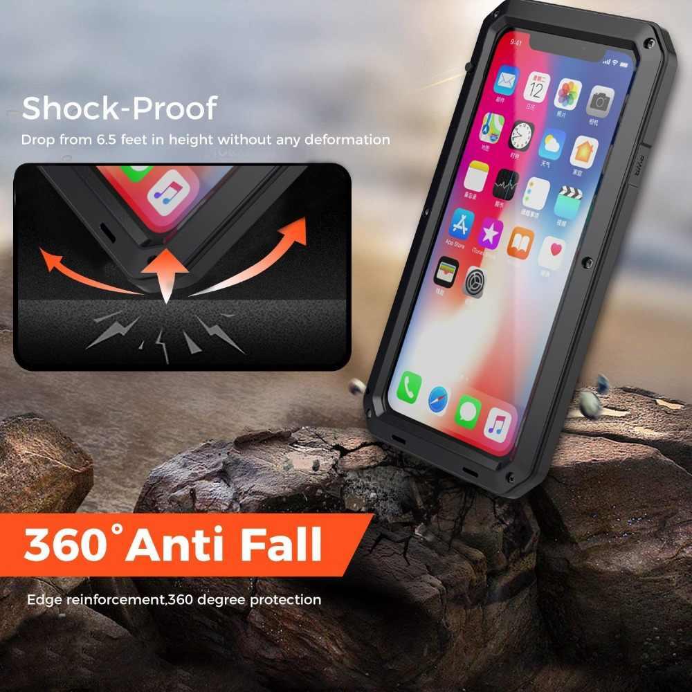 360 كامل حماية الموت درع المعادن الهاتف حقيبة لهاتف أي فون 11 برو XS ماكس XR X 6 6S 7 8 زائد 5S حالات صدمات الغبار غطاء