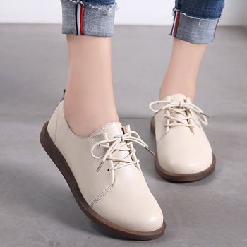 PEIPAH 2020 Women's Spring/Autumn Shoes For Women Genuine Leather Casual Round Toe Flats Female Lace Up Solid Oxford Shoes Donna fashion brand spring autumn women platform shoes genuine leather casual shoes woman flats lace up oxford shoes for women shoes