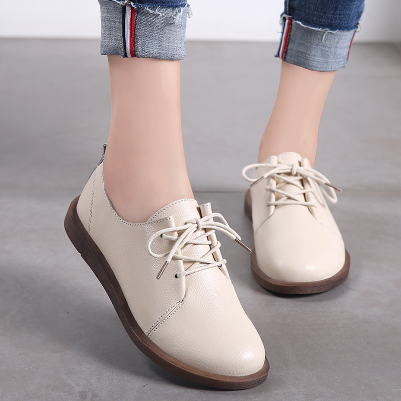 PEIPAH Women Oxfords Spring/Autumn Flat Shoes For Women Genuine Leather Casual Flats Ladies Lace Up Solid Chaussure Femme 2021