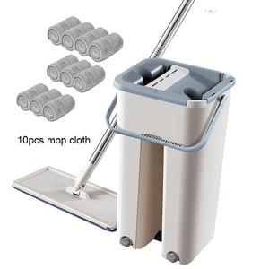 Image 1 - ניקוי מגבים בית רצפת סמרטוט מיקרופייבר רטוב לנגב עם דלי בד שטוח לסחוט תרסיס אמבטיה מטבח נקי משלוח יד ספין