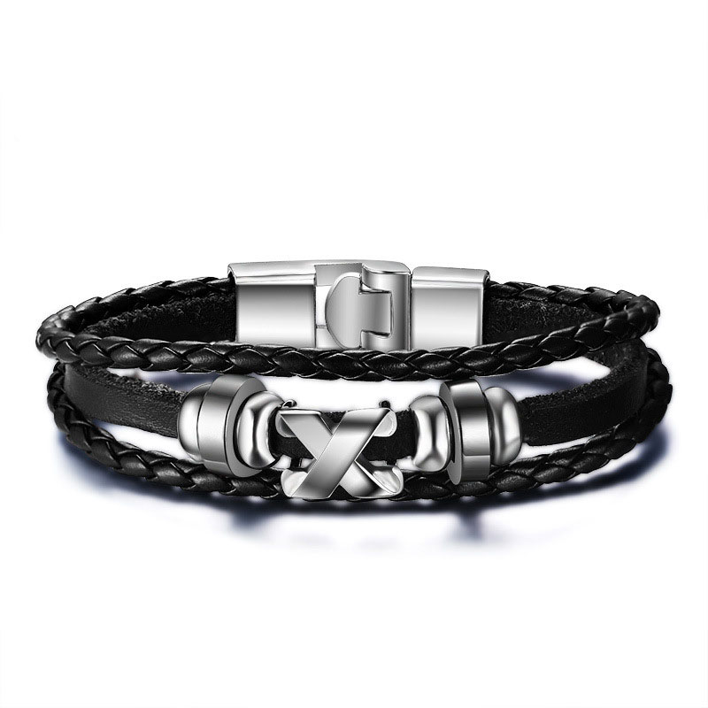"""""""diesel for successful liying"""" Punk Men's Leather Bracelet Multilayer Leather  Alloy Beads Bracelet for Women Nautical Jewelry 3"""