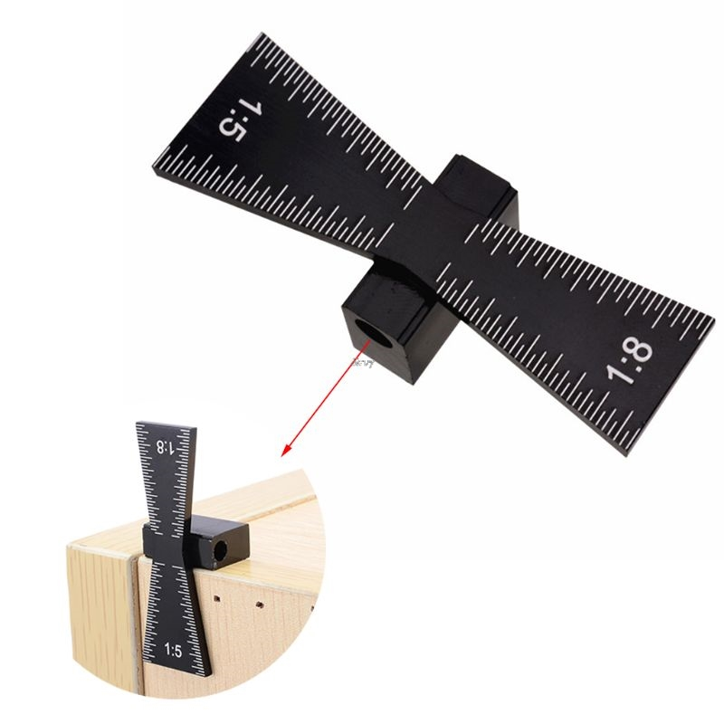 Swallow Tail Dovetail Marker Aluminum Alloy Hand Cut Wood Joints Meter Guide Tool With Scale Template Size 1: 5 And 1: 8