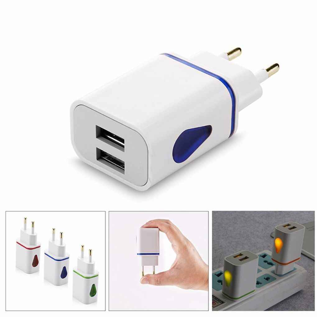 Ponsel Universal Warna-warni Daya AC/DC Adapter 2 Usb Port LED Light-Emitting Charger 2.1A 5V Travel Charger USB EU/ US Plug