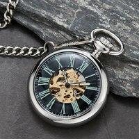 Vintage Watch Necklace Steampunk Skeleton Mechanical Pocket Watch Clock Hand winding Men Women Chain Gift Relógio de bolso
