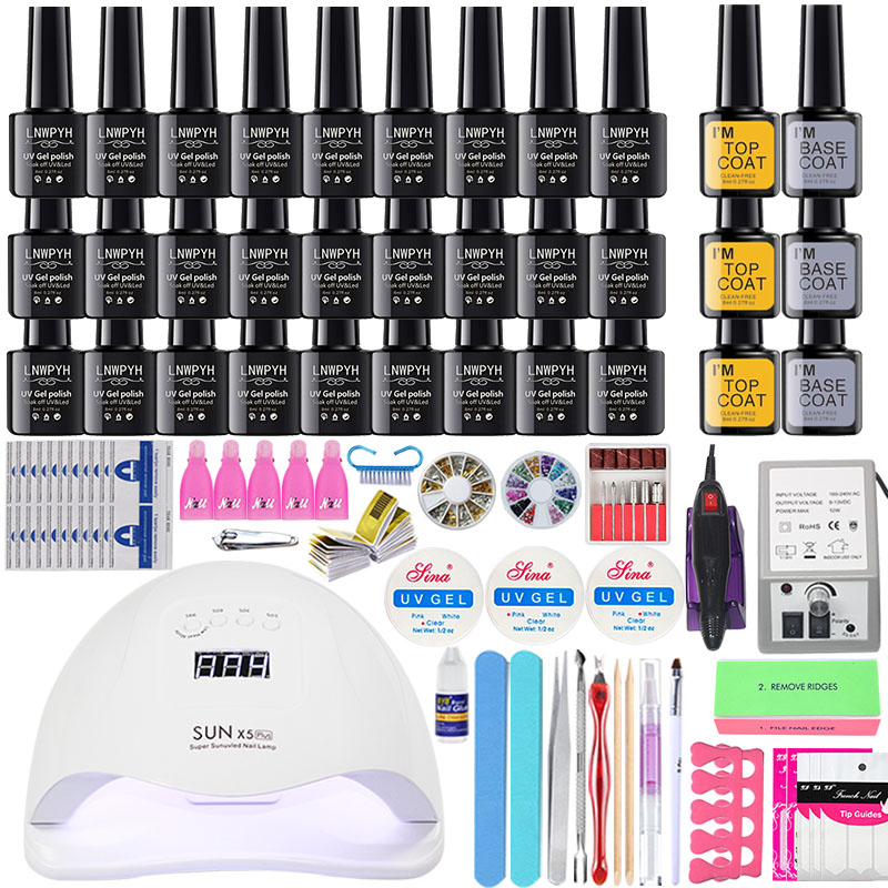 Nail Kit 27/10colors Nail Gel Polish Set Kit For Manicure Gel Varnish Nail Art Set24/54W UV Lamp Nail Dryer Electic Drill Set