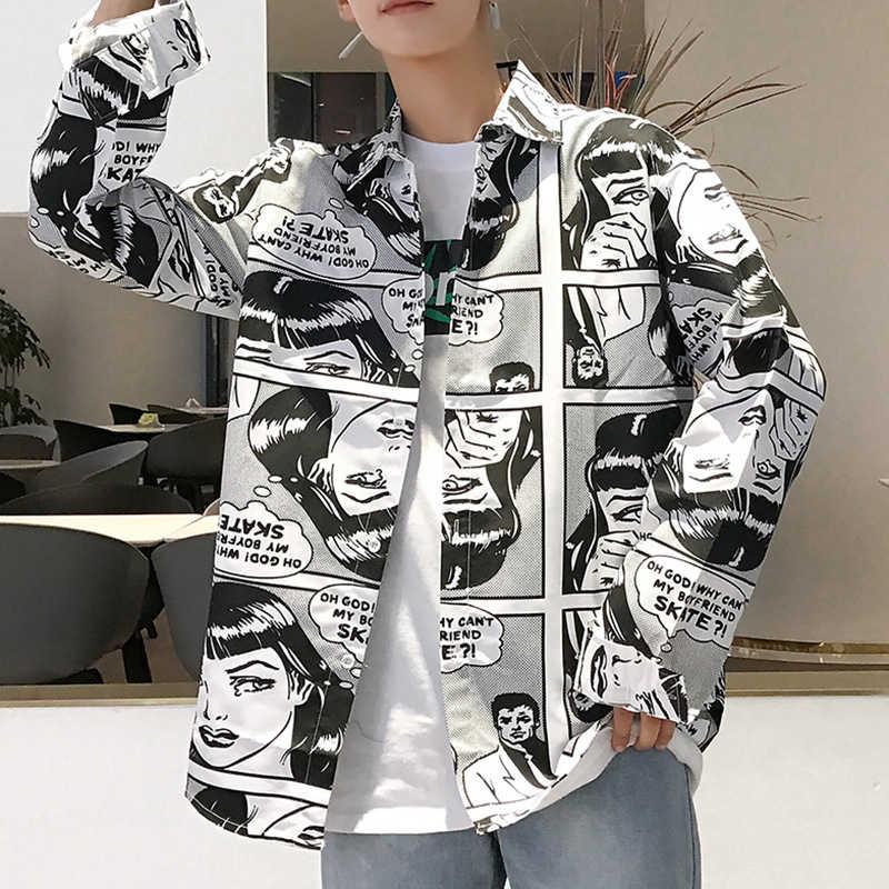 2019 Мужская рубашка с отложным воротником и длинным рукавом, повседневная рабочая одежда, мужская рубашка с комическим принтом, кардиган в японском стиле, мужская рубашка