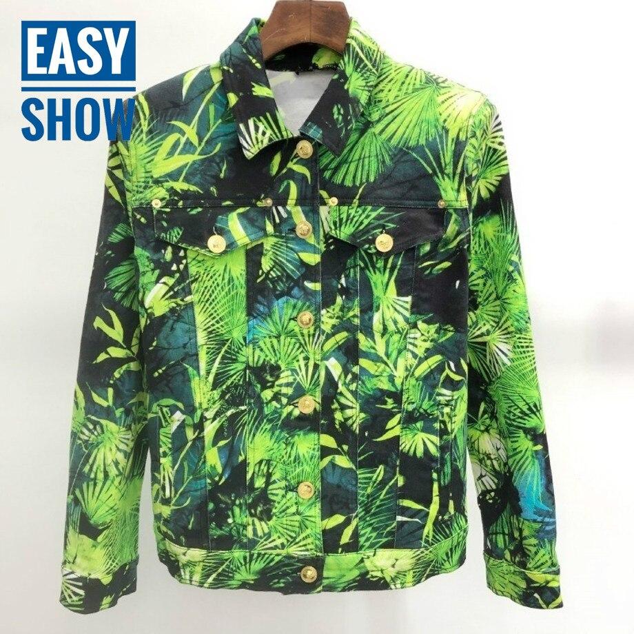 V413  Green beach style pine print denim jacket Jackets    - AliExpress
