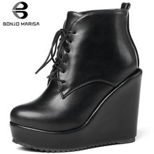 BONJOMARISA New 32-43 Hot Sale High Wedges Booties Ladies Elegant Platform Ankle Boots Women 2019 Heels Shoes Woman