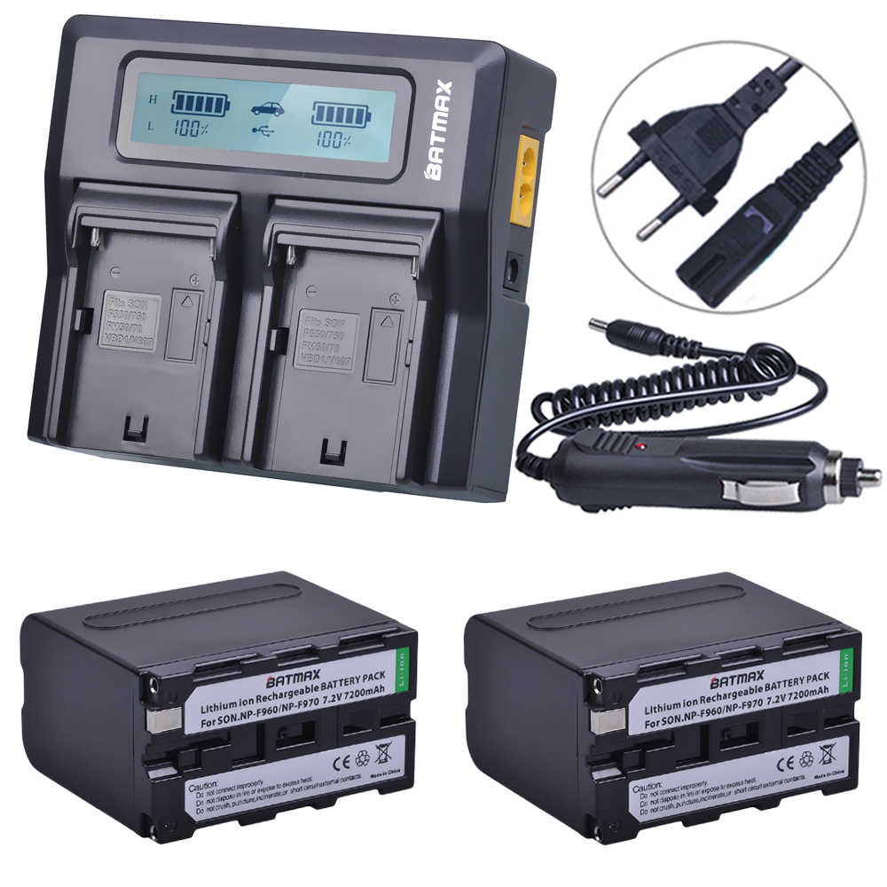 7200mAh NP-F970 NP-F960 NPF970 F960 Bateria met LED Power Indicatoren + LCD Rapid Dual Charger Voor Sony PLM-100 CCD-TRV35 MVC-FD91