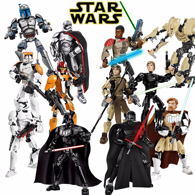 Star Wars Buildable Figure Stormtrooper Darth Vader Kylo Ren Chewbacca Boba Jango Fett General Grievou Action Figure Kid Boy Toy