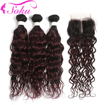 SOKU 1B/99J Burgundy Ombre Bundles With Closure Two Tone Brazilian Water Wave Human Hair Bundles Non-Remy Hair With Closure