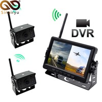 7 Inch HD AHD Digital 2CH 4CH DVR Recorder Video Monitor With Wireless Front Rear View Camera For Truck/Trailer/Bus/RV/Pickups