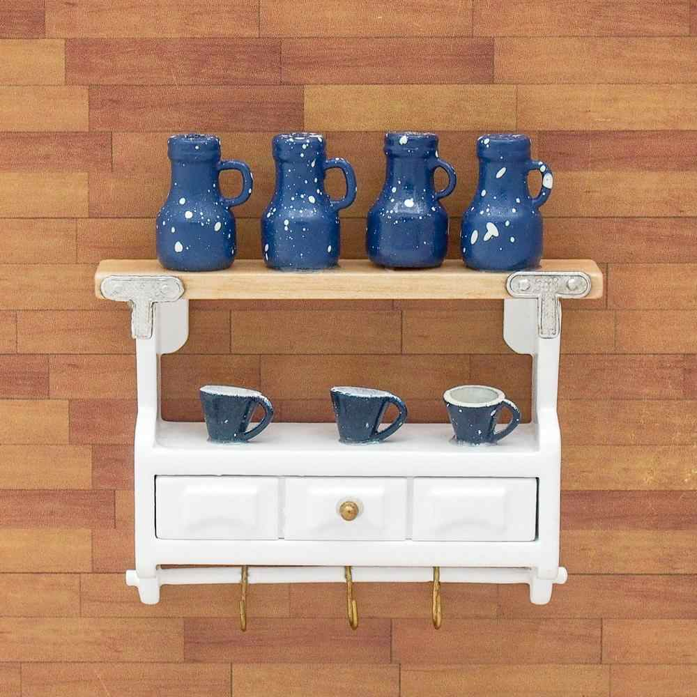 Choice Miniature Colored Glass bottles and Blue Vase Bowl Dollhouse Scale 1:12
