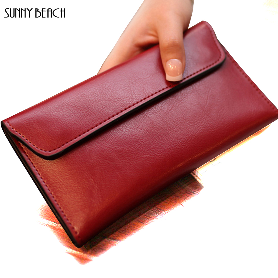 SUNNY BEACH New Genuine Leather women wallet purse bag designer Luxurious cowhide wallets long money wallets wholesale