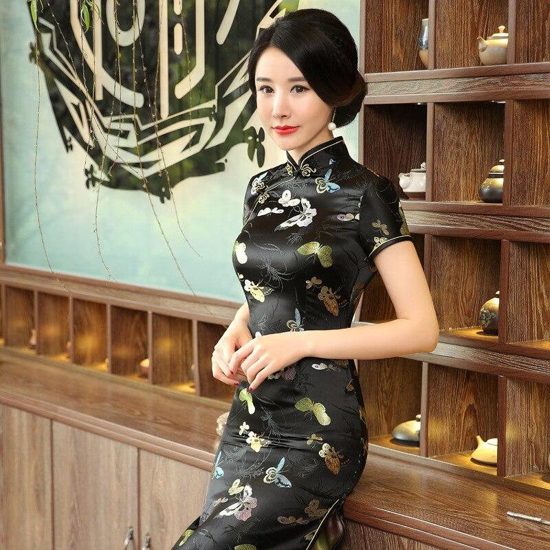[Chinese Costume Cheongsam] C0141-A New Style Long Printed Cheongsam Elegant Short Sleeve Retro Chinese Costume Cheongsam Wholes