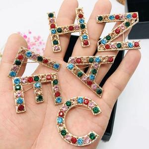 Fashion Brooch Statement Boho Letter Brooches Full Rhinestone Upscale Lady Pin Party Dress Woman Brooch Jewelry