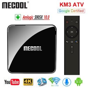 цена на MECOOL KM3 ATV Androidtv Google Certified TV Box Android 10.0  64GB Amlogic S905X2 4K Dual Wifi Set Top Box KM9 Pro 2/16 4/32G