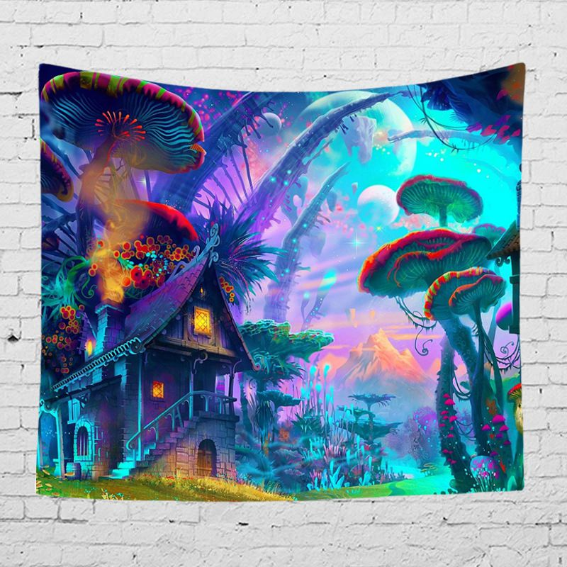Colorful Fairytale Wall Covering Trippy Fabric Tapestry Bedroom Living Room Wall Hanging Decoration Blanket