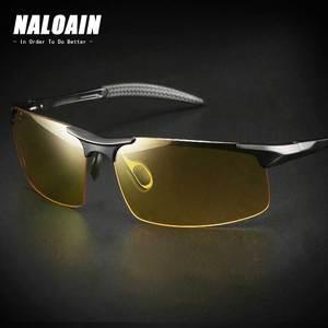 Image 1 - NALOAIN للرؤية الليلية نظارات عدسات قطبية مكافحة وهج UV400 إطار معدني الأصفر القيادة نظارات للرجال النساء سيارة سائق 8177