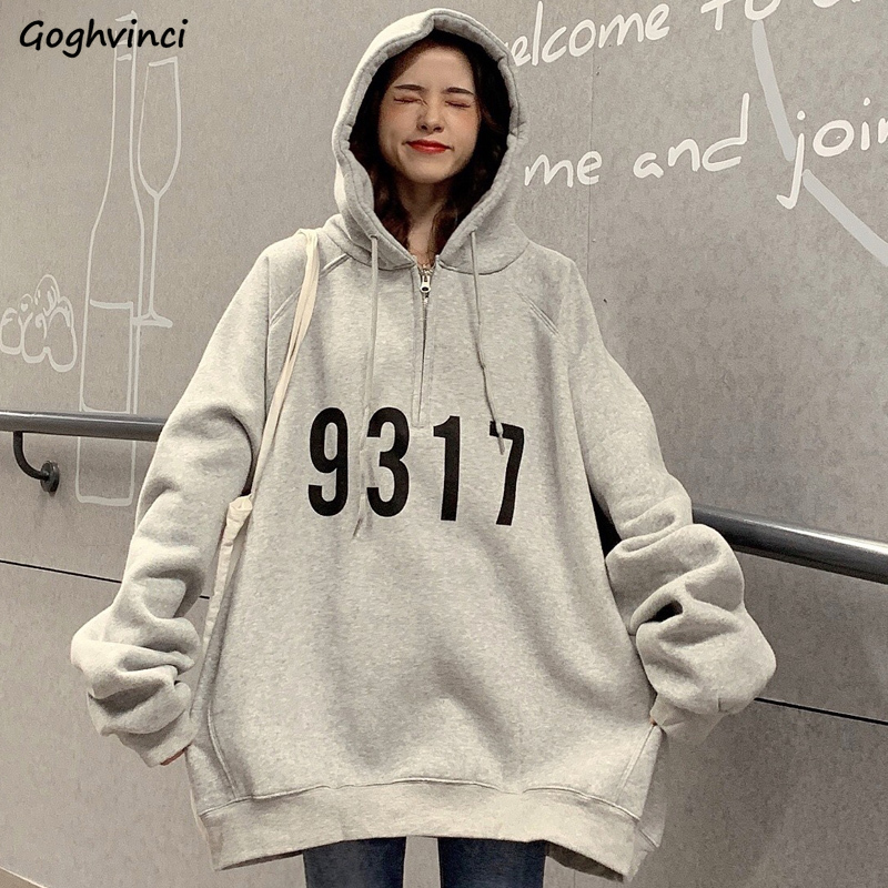 Hoodies Women Hooded All-match Letter Oversize Harajuku BF Loose Zipper Womens Pullover Thick Warm Plus Velvet Ulzzang New Chic