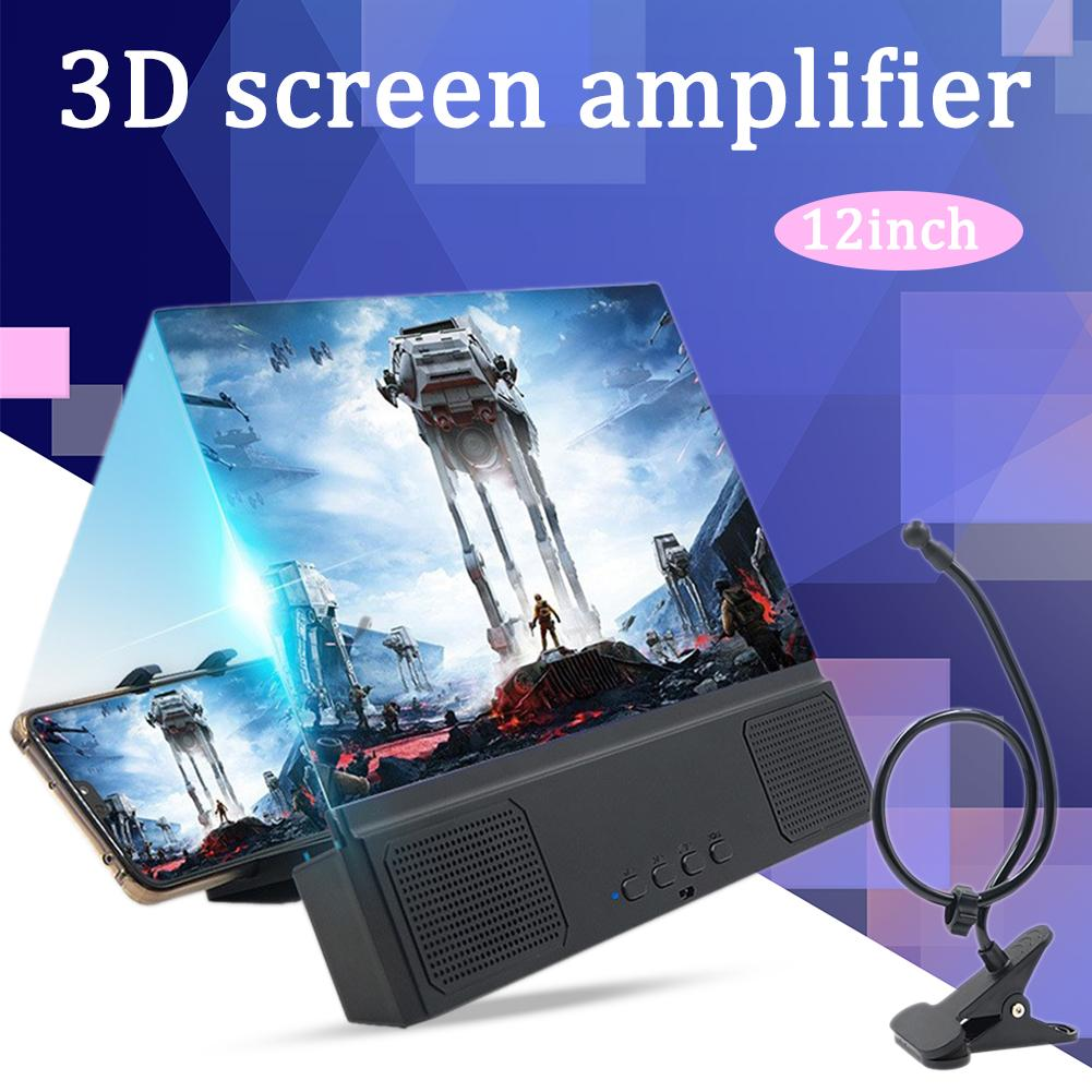 12 Mobile Phone 3D Screen Magnifier HD Movies Amplifier Practical Phone Stand Holder Desktop Photo Frame Bluetooth Speaker image
