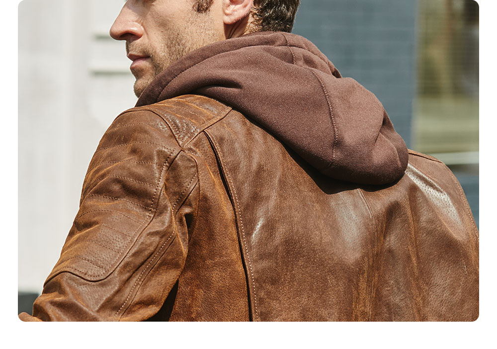 H350a48c1fbf547ba98beeee9d19d1c10z New Men's Leather Jacket, Brown Jacket Made Of Genuine Leather With A Removable Hood, Warm Leather Jacket For Men For The Winter
