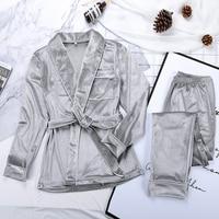 HiLoc cálido-Pijama de terciopelo para mujer, bata y pantalones con bolsillos sólidos, ropa gruesa de manga larga para el hogar, traje de noche informal de otoño e invierno
