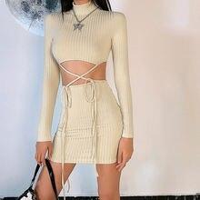 Осеннее Новое вязаное платье oforest модное винтажное укороченное