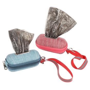 Przenośna torba na odchody psa dozownik z liną do czyszczenia odpadów pojemnik na śmieci Puppy Pick-Up torby uchwyt etui materiały zewnętrzne tanie i dobre opinie Pooper Scoopers i Torby CN (pochodzenie) GUGUJI222 Bag Dispenser